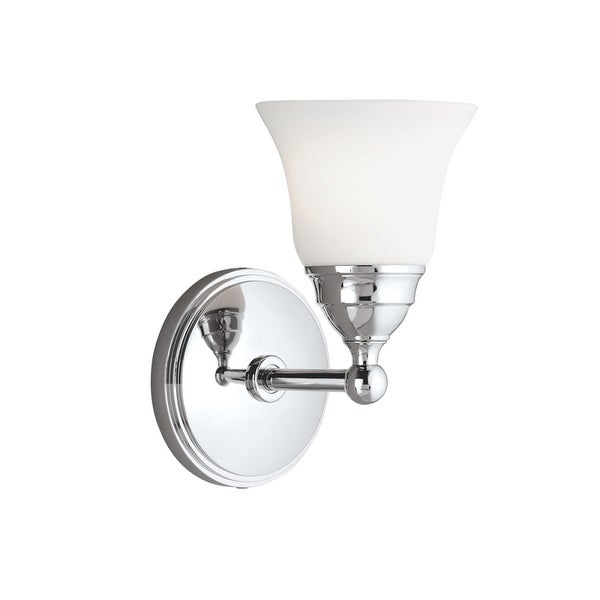 """Norwell Lighting 8581 Sophie 9"""" Tall Single Light Bathroom Sconce with White Glass Shade"""