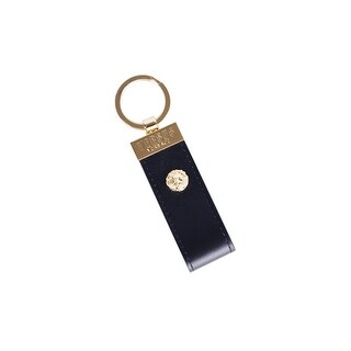 Versus Versace Black Gold Lion Head Leather Key Ring