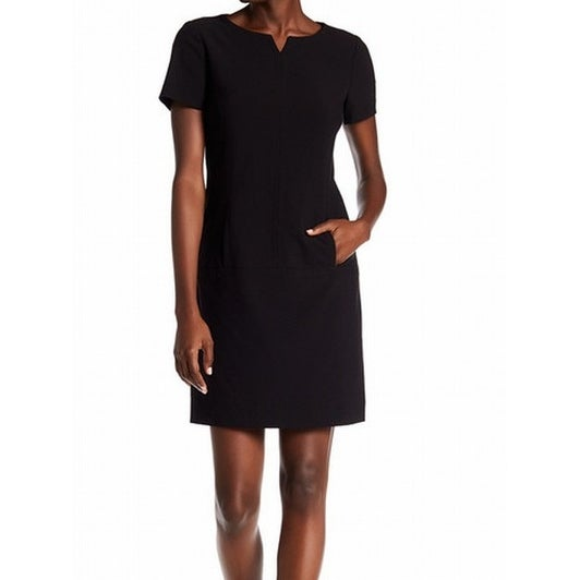 533a26660c7e Shop Tahari by ASL NEW Black Split-Neck Women 0 Kangaroo-Pocket Shift Dress  - Free Shipping On Orders Over $45 - Overstock - 18376676