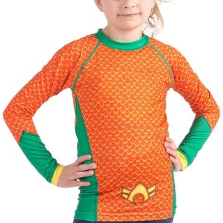 Fusion Fight Gear Kid's Aquaman Costume Long Sleeve Rashguard