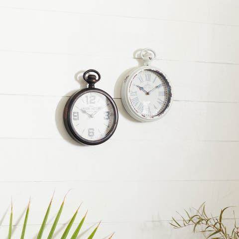 The Gray Barn Crow Haven Metal Table Clock (Set of 2)