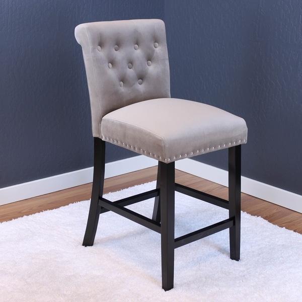 """Silver Orchid Flohr Tufted Polyester Velvet Counter Chairs (Set of 2) - 40.5""""h x 18.5""""w x 22.5""""d - 40.5""""h x 18.5""""w x 22.5""""d. Opens flyout."""