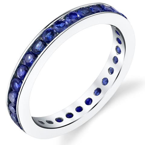 Created Blue Sapphire Eternity Ring in Sterling Silver 1.50 Carats