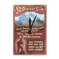Denali, AK - 30% Club Vintage Sign - LP Artwork (Acrylic Wall Clock) - acrylic wall clock