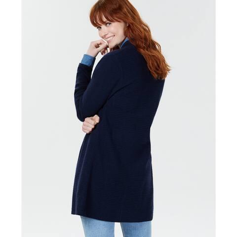 Charter Club Women's Pure Cashmere Pointelle-Stitch Cardigan Navy Size Medium