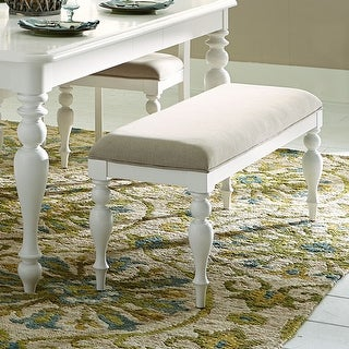 Link to Summer Cottage White Linen Upholstered Dining Bench Similar Items in Kitchen & Dining Room Chairs