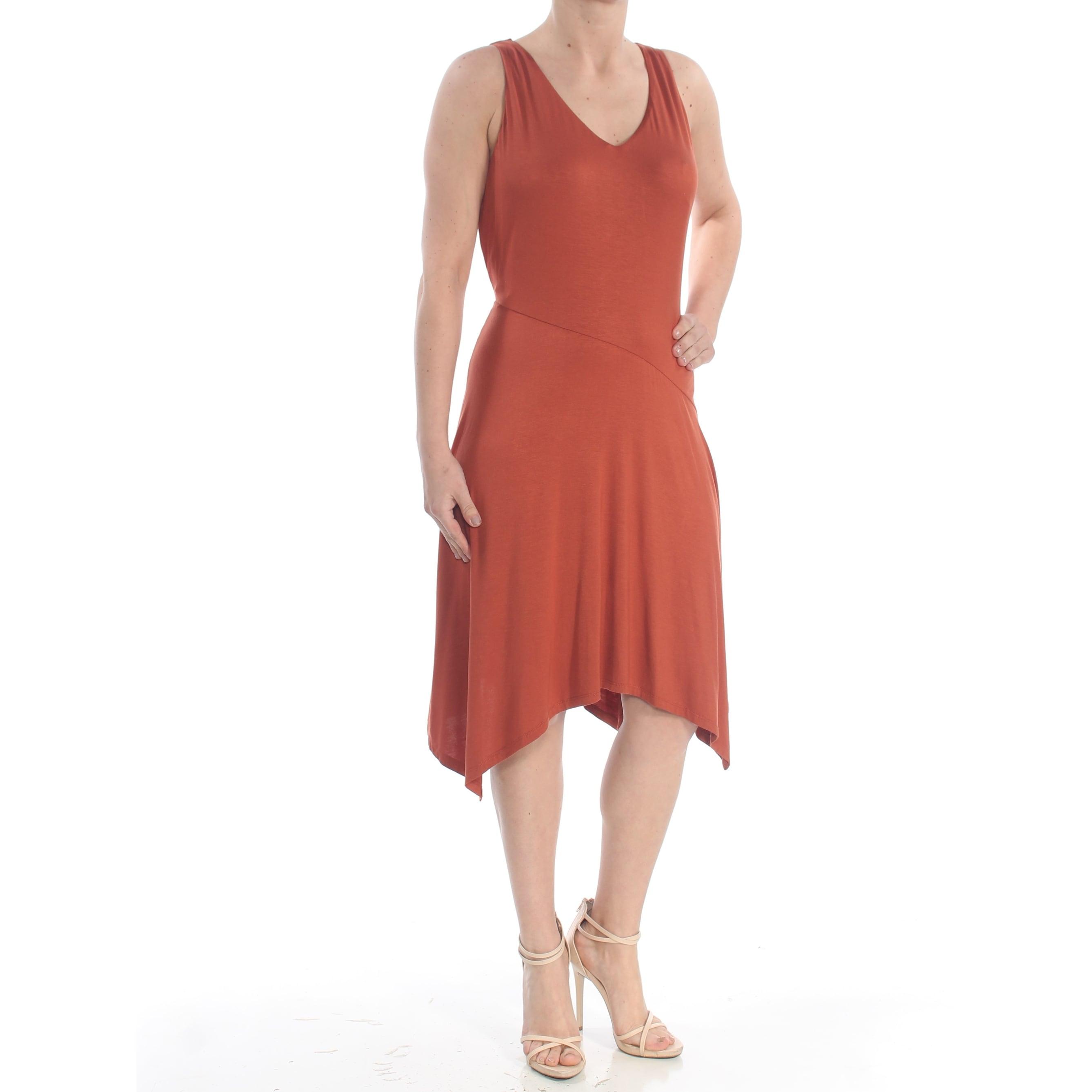 INC Womens Brown Handkerchief Hem Sleeveless V Neck Knee Length Dress Plus  Size: 1X