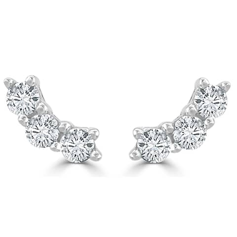 Three Stone Diamond Studs Earrings 14k Gold 1/3ct TDW by Joelle Collection