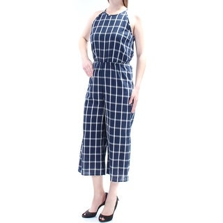 Womens Navy Check Jewel Neck Spaghetti Strap Casual Jumpsuit Size 2XS