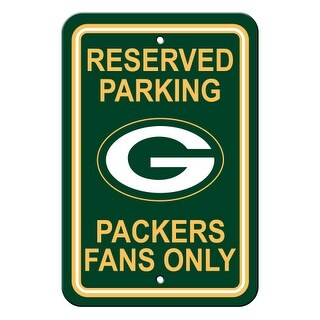 FREMONT DIE Inc Green Bay Packers Plastic Parking Sign - Reserved Parking Plastic Parking Sign - Reserved Parking
