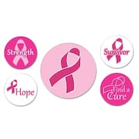 Club Pack of 60 Breast Cancer Awareness Pink Ribbon Button Party Favors