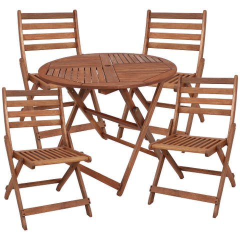 Sunnydaze 5-Piece Meranti Wood Round Dining Table with Folding Chairs