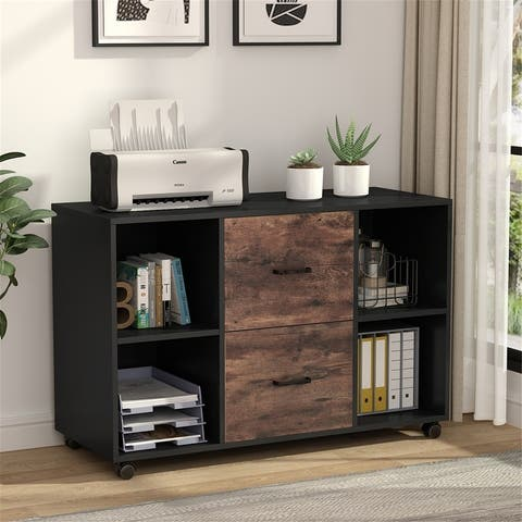 Wood File Cabinet with 2 Drawers and 4 Open Shelves Office Storage Cabinet