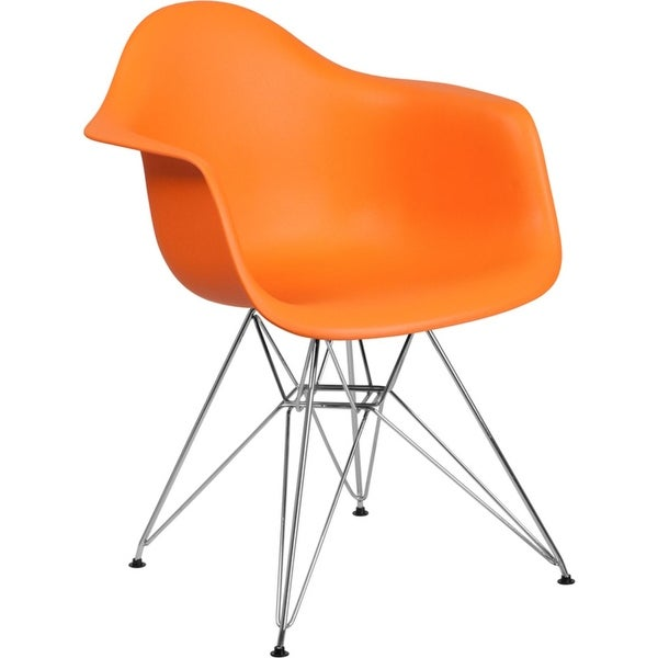 Offex Orange Plastic Accent Side Chair with Chrome Base [OFX-456825-FF]