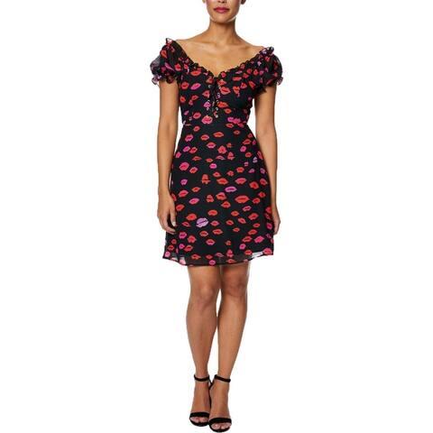 Betsey Johnson Women's Red Kiss Print A-Line Puff Sleeve Lace-Up Mini Dress