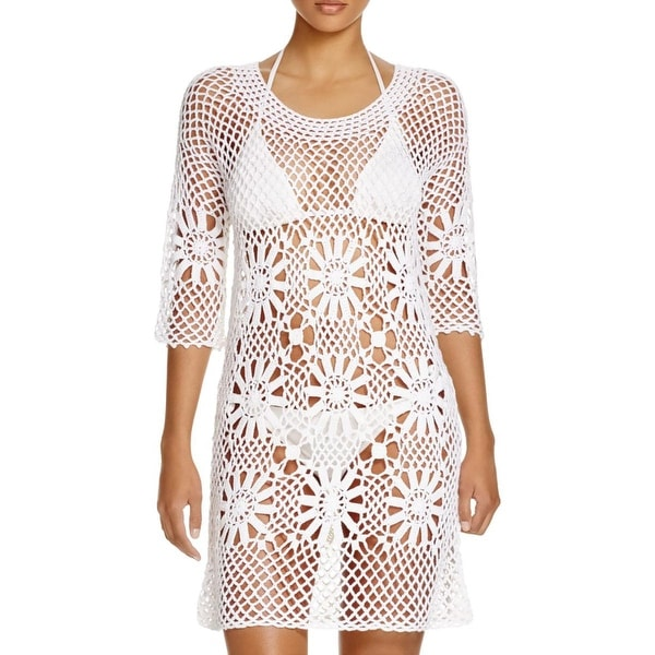 J. Valdi Womens Crochet Solid Dress Swim Cover-Up