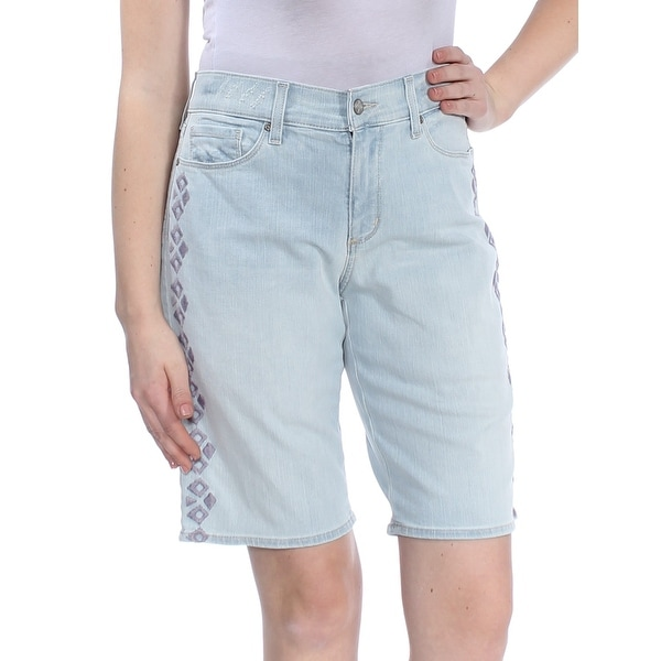 NYDJ Womens Light Blue Embroidered Tummy Control Denim Short Size: 4