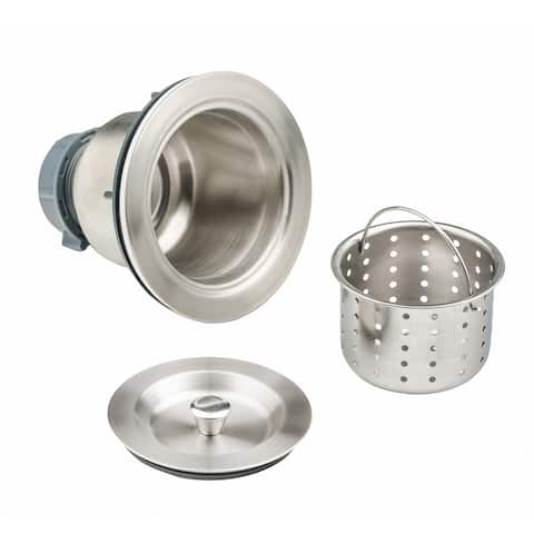 3-1/2 in. Kitchen Sink Drain Assembly in Stainless Steel with Basket Strainer and Cover