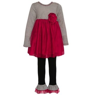 Bonnie Jean Little Girls Red Black Stripe Floral Detail Legging Outfit