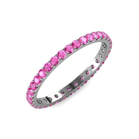TriJewels Round Pink Sapphire 1 3/8 ctw Womens Eternity Ring 14K Gold