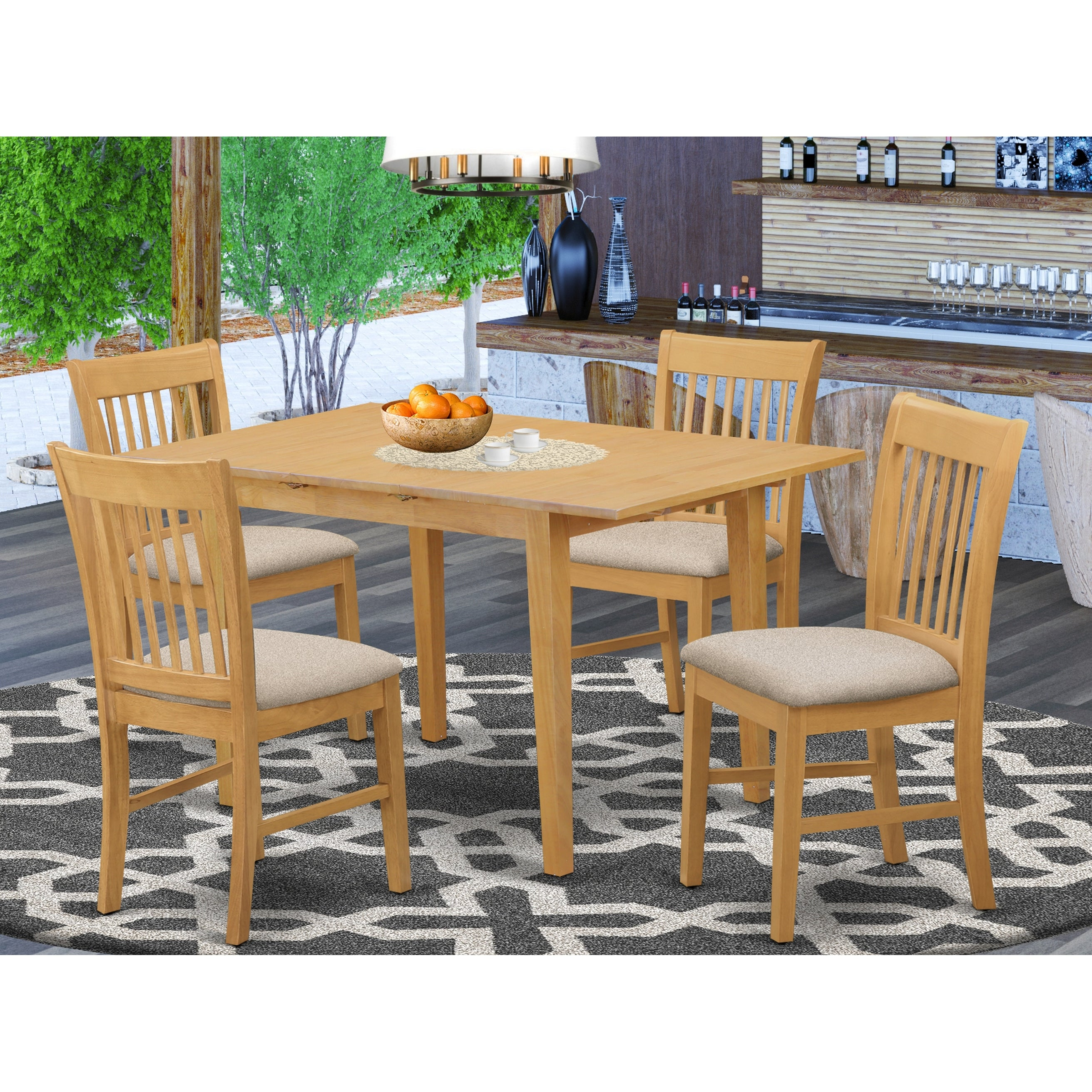 Oak Table And 4 Dining Table Chairs 5 Piece Dining Set Overstock 10201159 Nofk5 Oak C