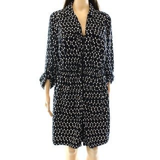 Alfani NEW Black Women's Size 8 Printed Full-Zip Roll Tab Shirt Dress