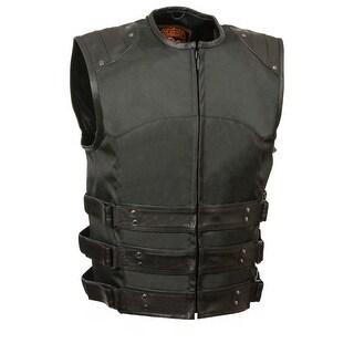 Mens Updated Black Textile SWAT Vest W/ Tri Belts