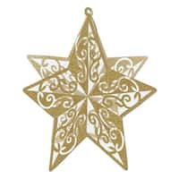 """Club Pack of 12 Gold Cutout 3-D Glittered Star Centerpiece Decorations 12"""""""