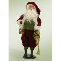 "12.5"" Decorative Red and White Santa Claus with Brass Lantern Christmas Table Top Figure"