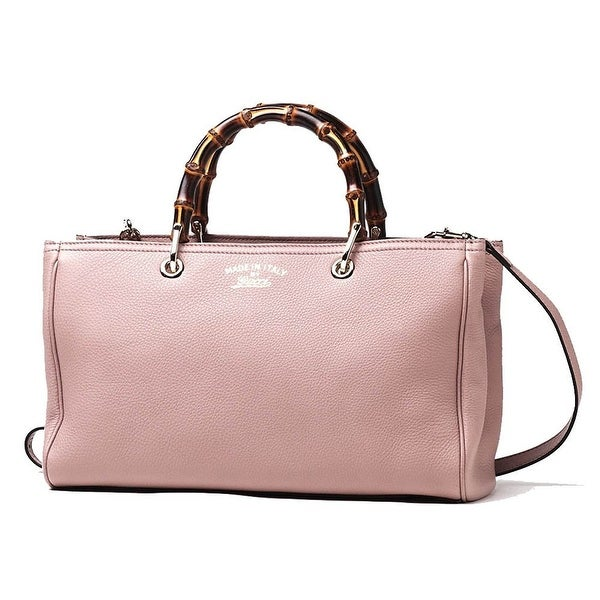 Gucci Bamboo Shopper Mauve Powder Pink Leather Tote Bag