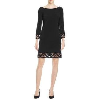 Laundry by Shelli Segal Womens Cocktail Dress Crotchet Trim 3/4 Sleeves