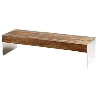 Cyan Design Silverton Coffee Table Silverton 63.5 Inch Long Stainless Steel and Wood Coffee Table