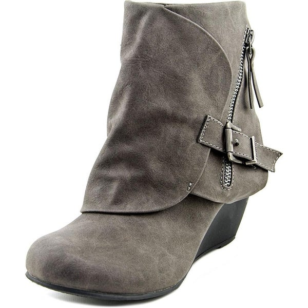 Blowfish Bilocate Women Round Toe Synthetic Gray Bootie