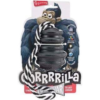 Black - Multipet Gorrrrilla Tough Rubber Treat Toy W/Rope 4.5""