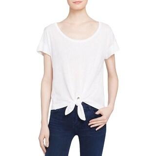 Splendid Womens T-Shirt Tie Front Short Sleeves