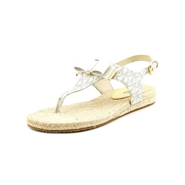 64e0bc1fcafc24 Michael Michael Kors Meg Thong Women Open Toe Leather Ivory Thong Sandal