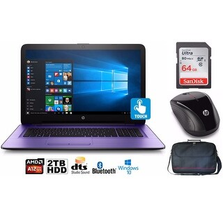 "HP Notebook 17 Bundle, AMD A12, 2TB HDD, 12GB, 17.3"" Touch Screen, Office 365 (Certified Refurbished) - Purple"