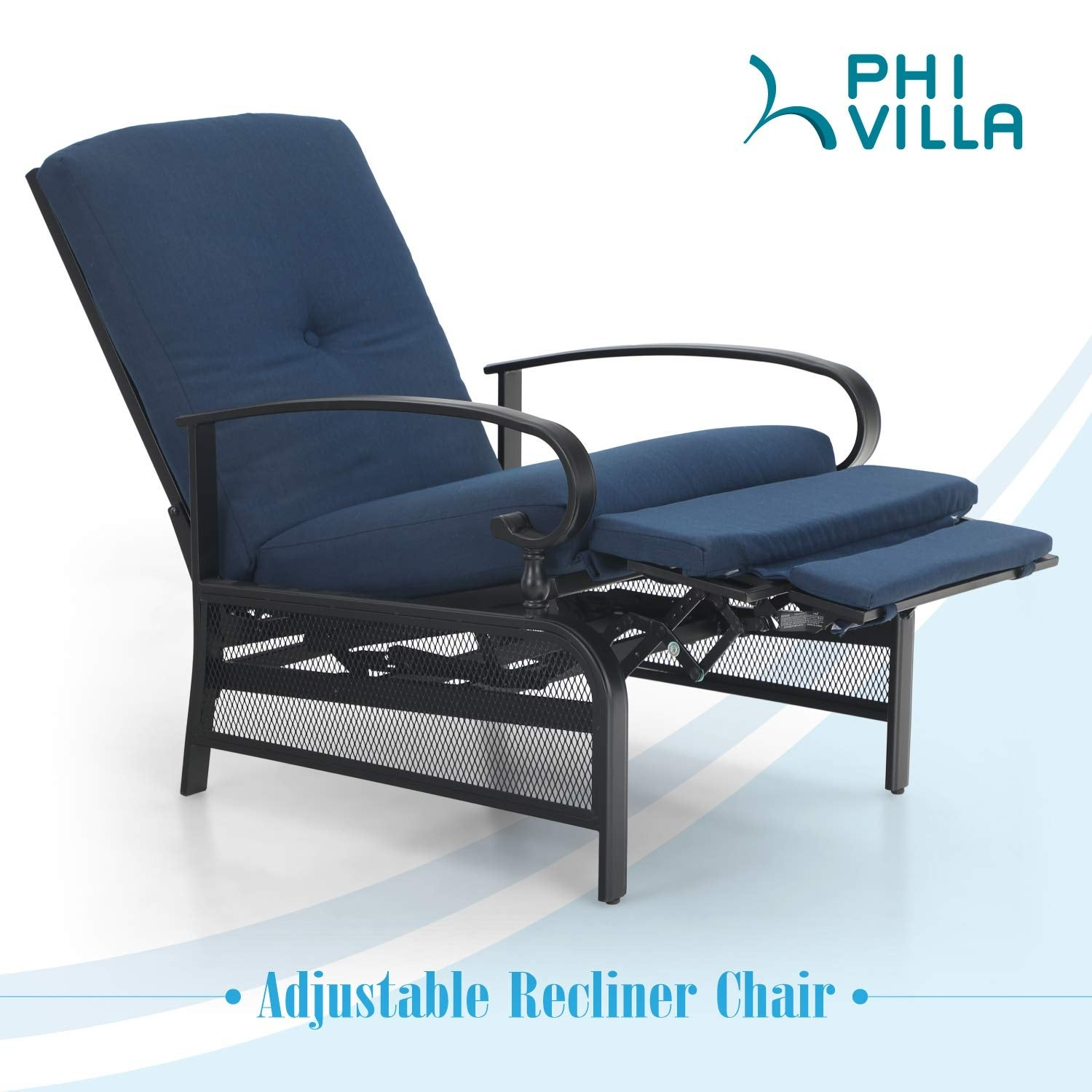 Picture of: Shop Black Friday Deals On Phi Villa Outdoor Patio Metal Adjustable Relaxing Recliner Lounge Chair With Cushion N A Overstock 30355005 Green