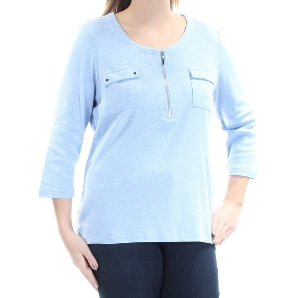 b52fa064 Shop KAREN SCOTT Womens Light Blue 3/4 Sleeve Zip Neck Tunic Top Size: L - Free  Shipping On Orders Over $45 - Overstock - 21726309