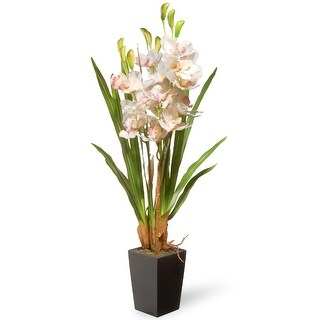 33 Potted Artificial White Orchid Flowers - Green