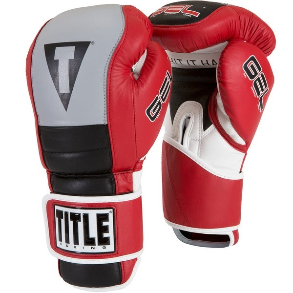 Title Boxing Gel Rush Custom Form Fit Hook and Loop Bag Gloves -  Red/Gray/Black
