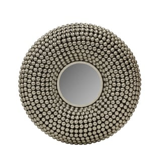 31 Inch Metal Wall Decor with Mirror and Studded Nail Accents, Silver