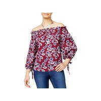Seven Sisters Womens Juniors Casual Top Floral Print Smocked