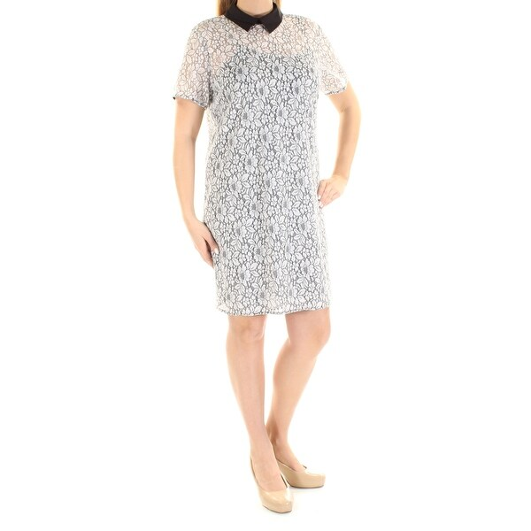 34c02745866045 Shop MICHAEL KORS Womens Black Embroidered Lace Floral Short Sleeve Peter  Pan Collar Above The Knee Sheath Cocktail Dress Size: 14 - On Sale - Free  Shipping ...