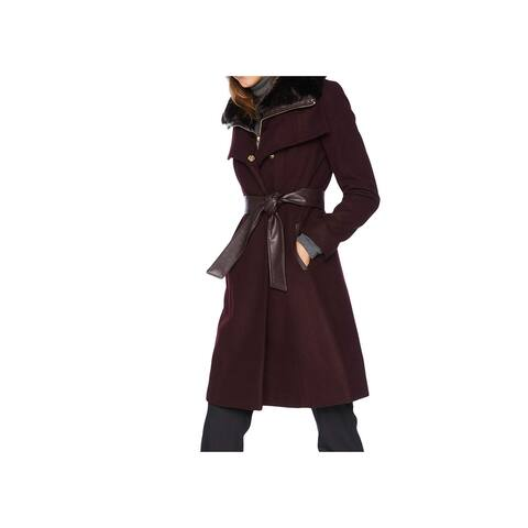 French Connection Womens Coat Red Size XS Faux-Fur Detachable Belted