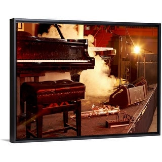 """""""Piano, Saxophone and Microphone Stands on a Smoky Stage"""" Black Float Frame Canvas Art"""
