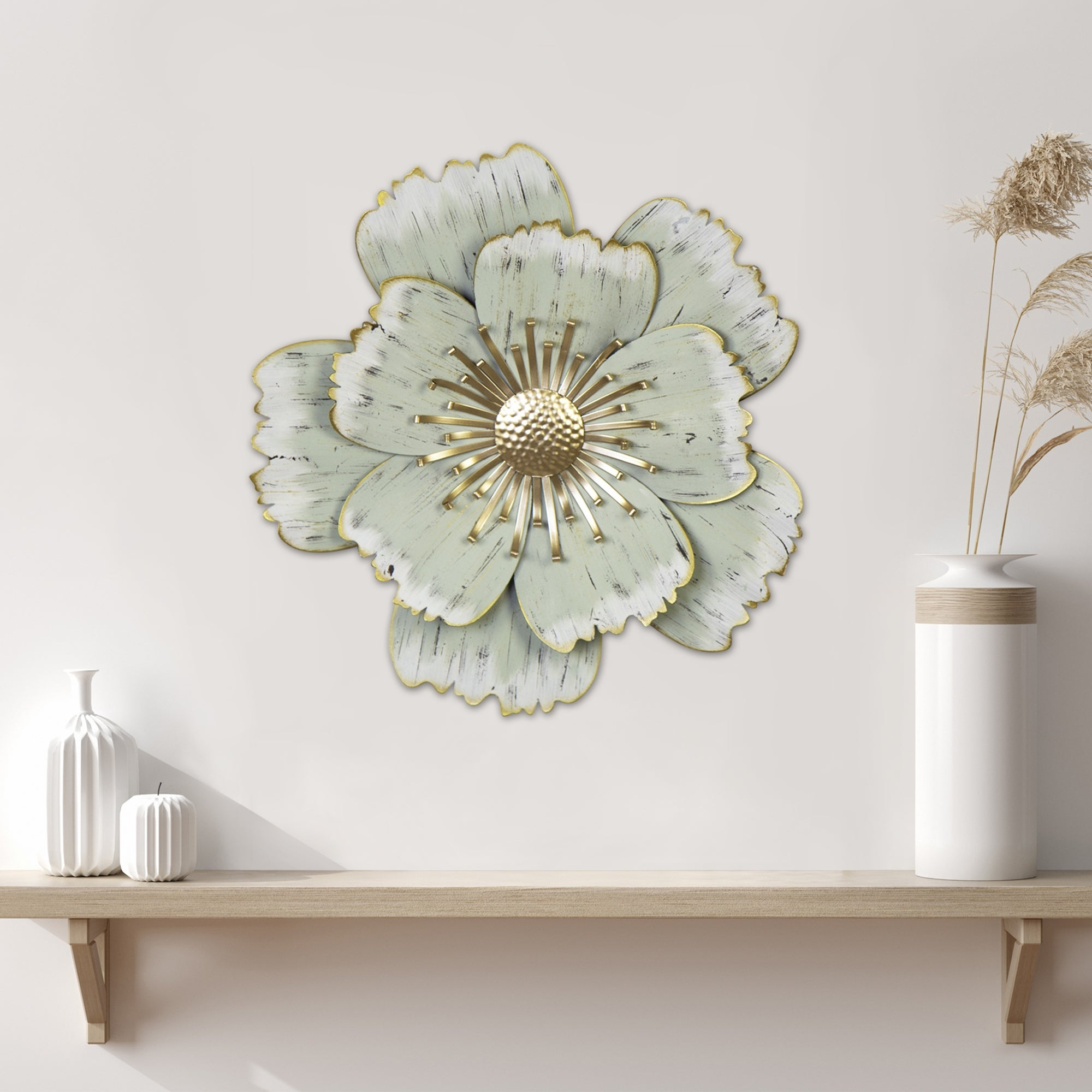 Stratton Home Decor Layered Green Metal Flower Wall Decor 16 54 X 2 76 X 16 00 Overstock 31945524