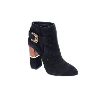 Roberto Cavalli Women Black Suede Serpent Buckle Ankle Boots