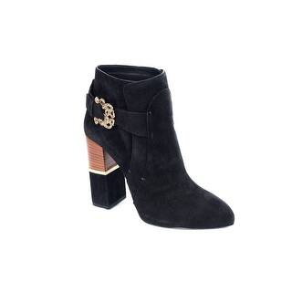 Roberto Cavalli Women Black Suede Serpent Buckle Ankle Boots|https://ak1.ostkcdn.com/images/products/is/images/direct/026870df01d8f7e4c639d293749a91da7fb4d4f4/Roberto-Cavalli-Women-Black-Suede-Serpent-Buckle-Ankle-Boots.jpg?impolicy=medium