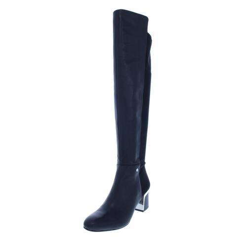 DKNY Womens Cora Over-The-Knee Boots Suede Block Heel